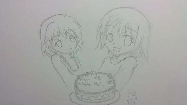 [手绘] 两位小美人都生日快乐的说
